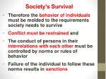 society s survival