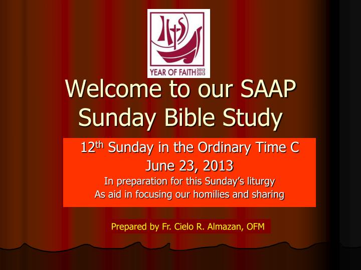 welcome to our saap sunday bible study n.