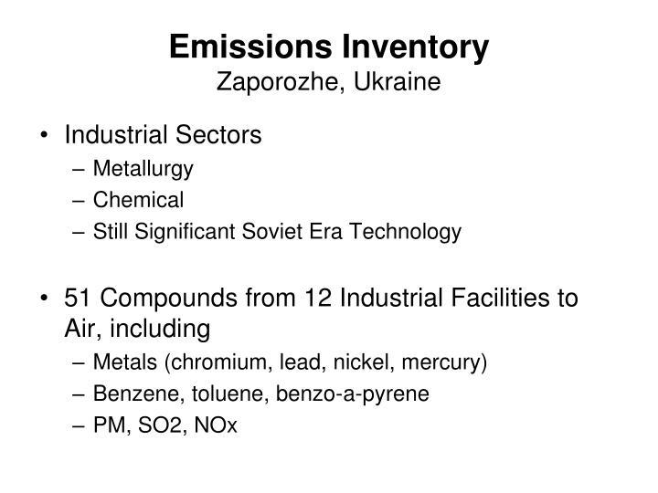 Emissions inventory zaporozhe ukraine