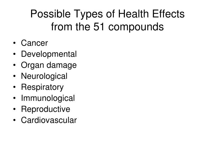 Possible types of health effects from the 51 compounds