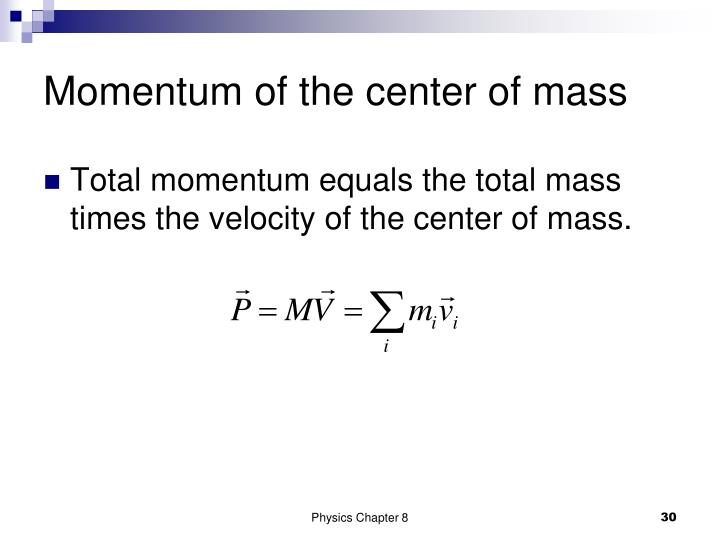 Momentum of the center of mass
