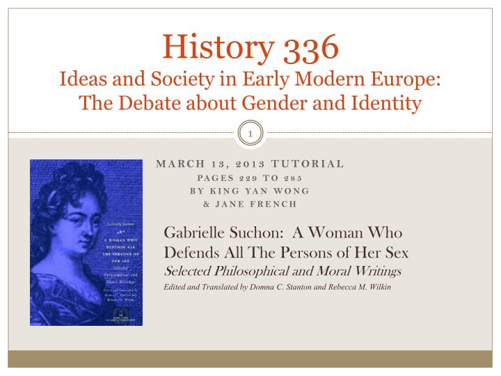 history 336 ideas and society in early modern europe the debate about gender and identity n.