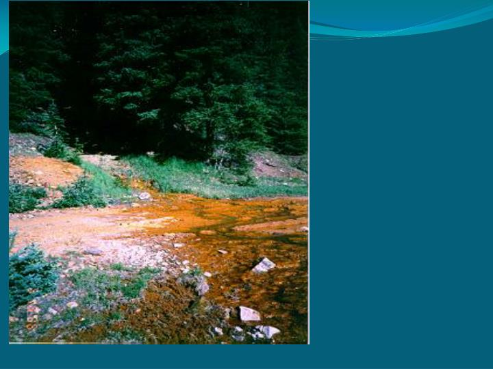Streams become more acidic and removes minerals from the rocks