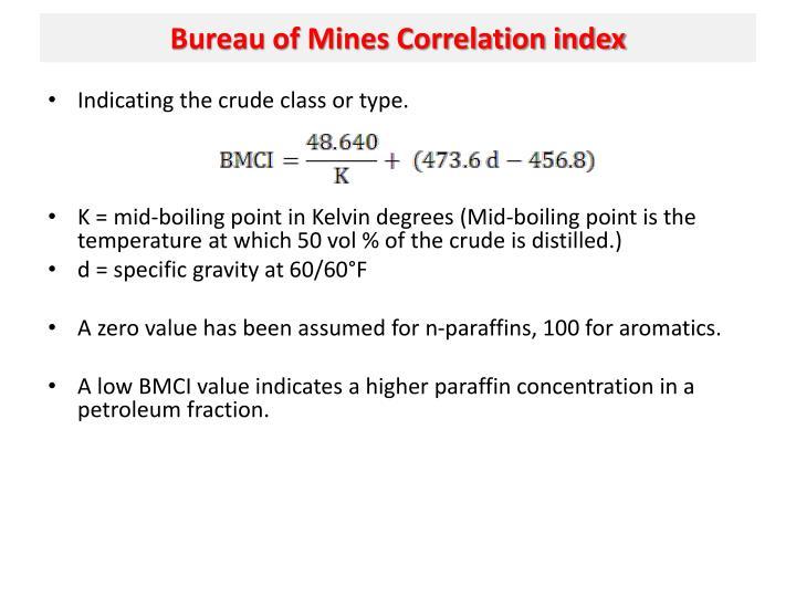 Bureau of Mines Correlation