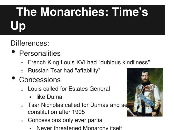 The Monarchies: Time's Up