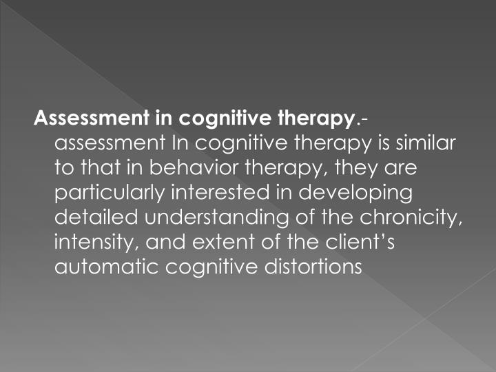 Assessment in cognitive therapy