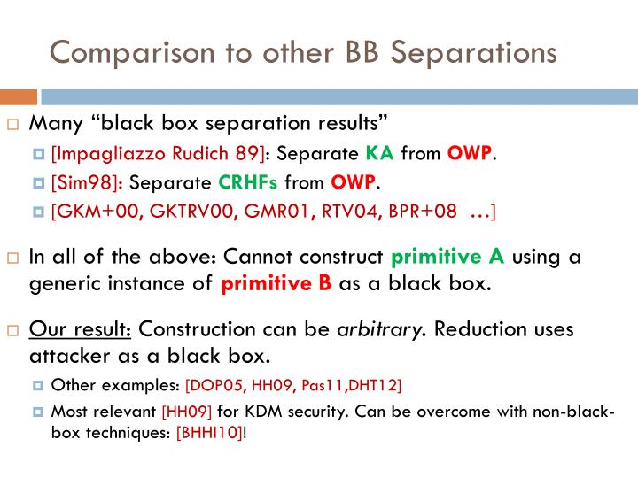 Comparison to other BB Separations