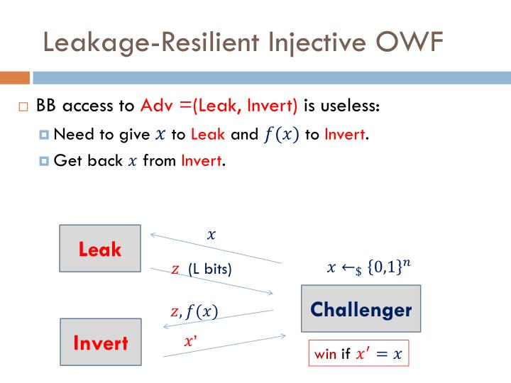 Leakage-Resilient Injective OWF