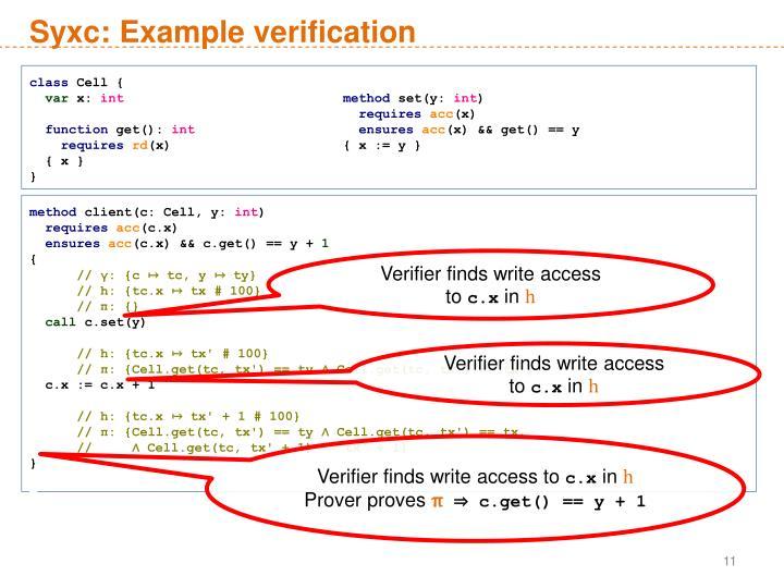 Syxc: Example verification