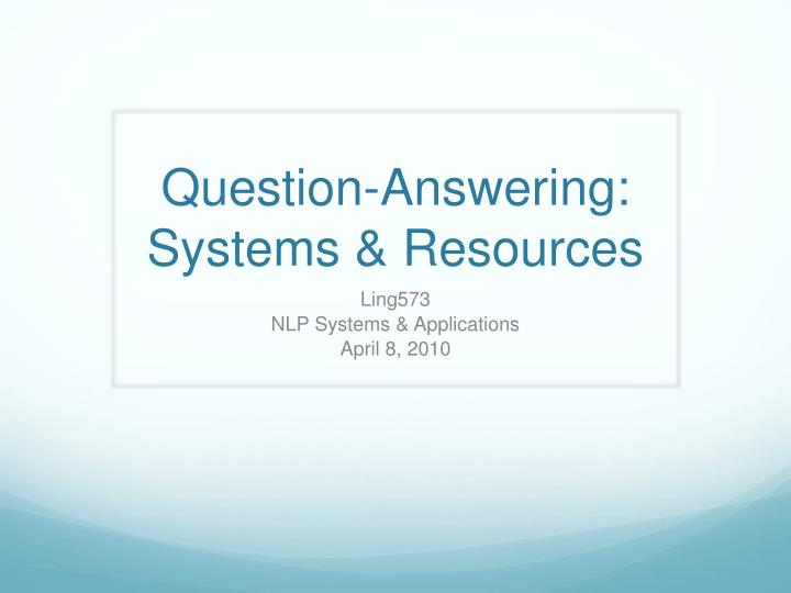 question answering systems resources n.
