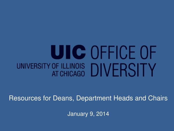 Resources for Deans, Department Heads and Chairs