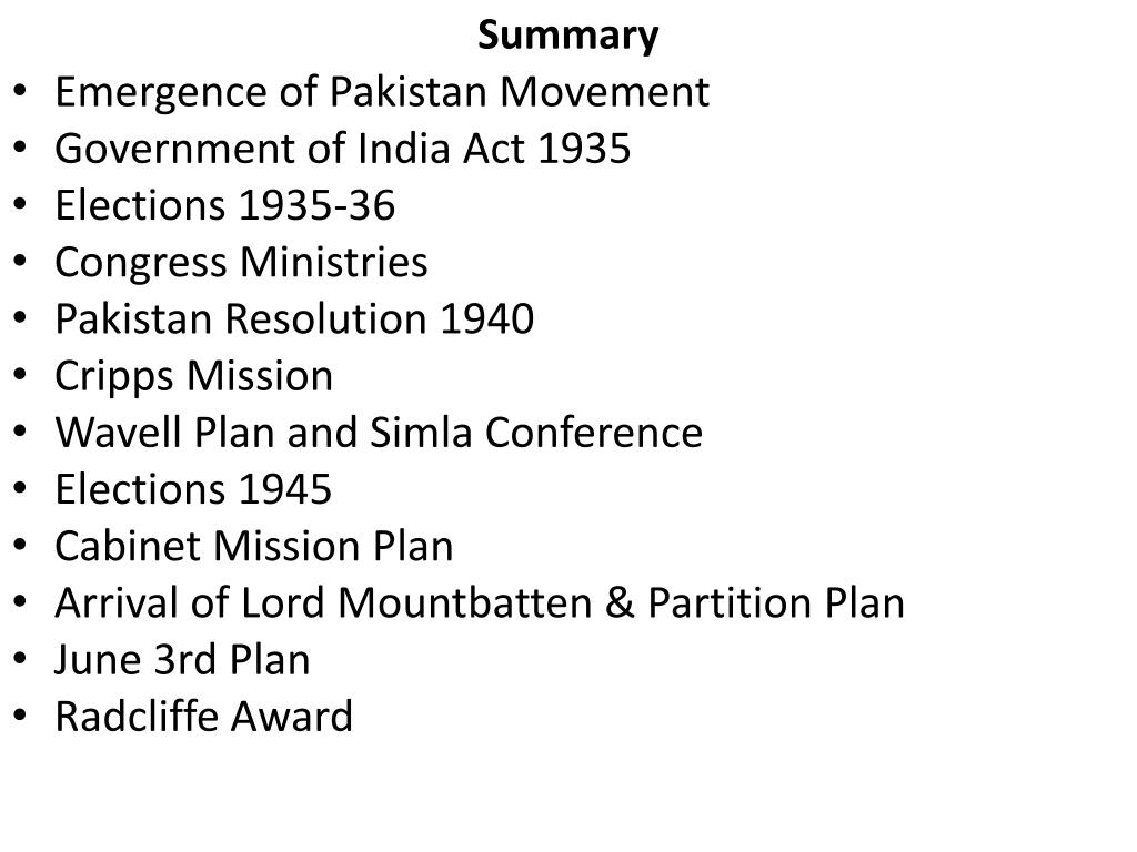 PPT - Lecture # 11 Emergence of Pakistan Movement PowerPoint