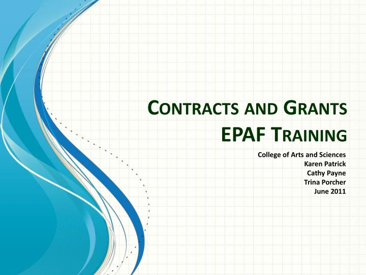 contracts and grants epaf training n.