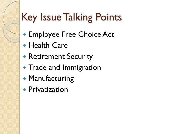 Key Issue Talking Points