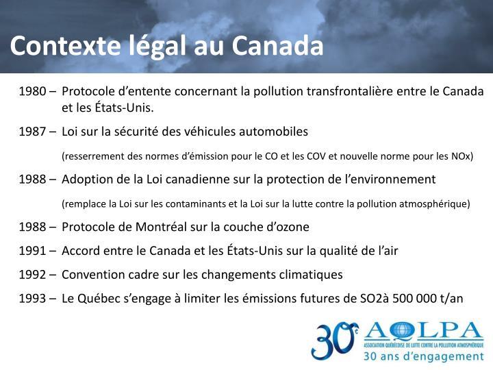 Contexte légal au Canada