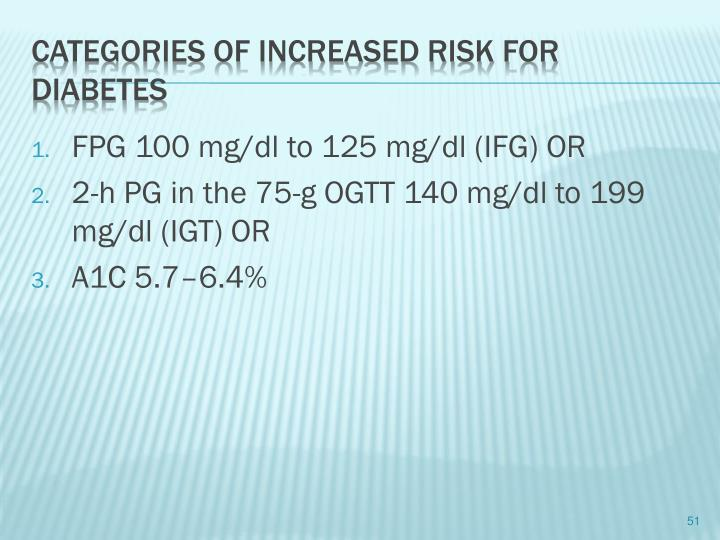 FPG 100 mg/dl to 125 mg/dl (IFG) OR