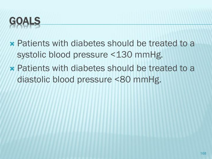 Patients with diabetes should be treated to a systolic blood pressure <130 mmHg.