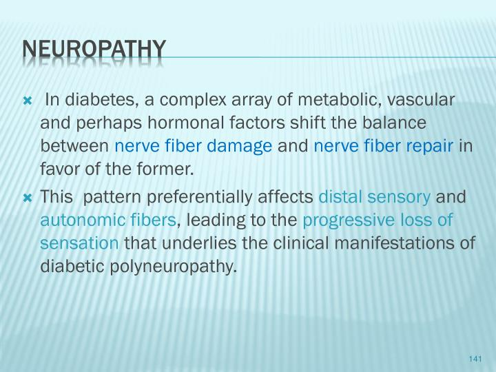 In diabetes, a complex array of metabolic, vascular and perhaps hormonal factors shift the balance between