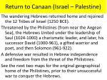 return to canaan israel palestine