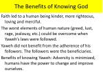 the benefits of knowing god