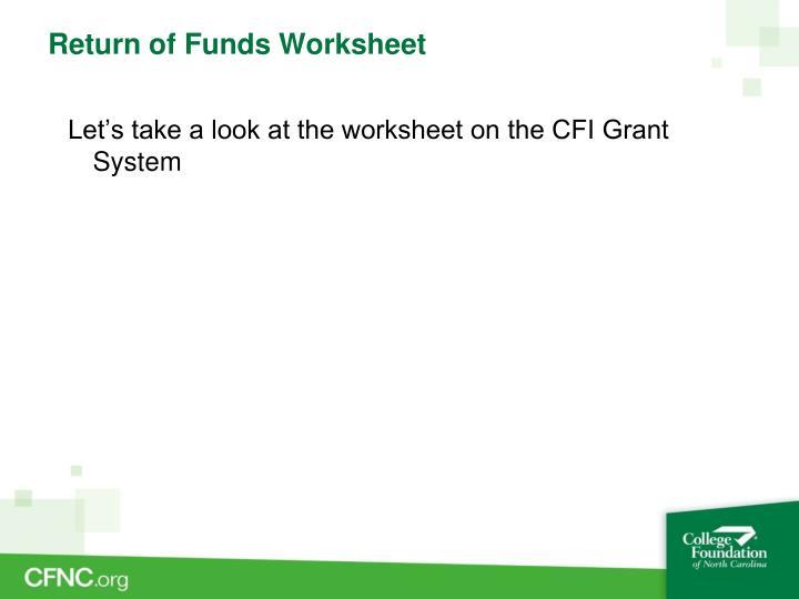 Return of Funds Worksheet