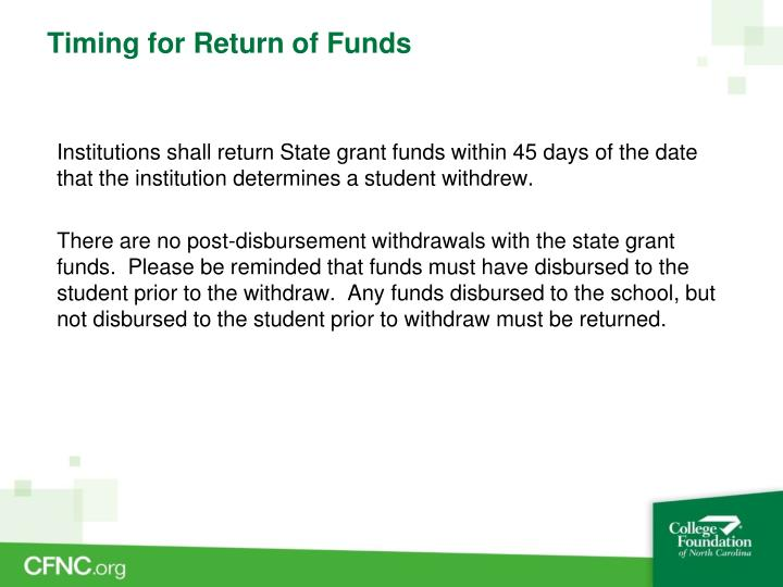 Timing for Return of Funds