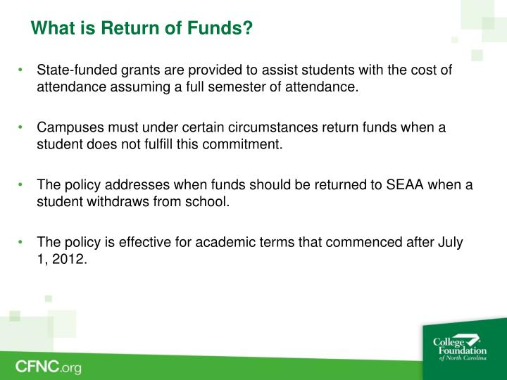 What is return of funds