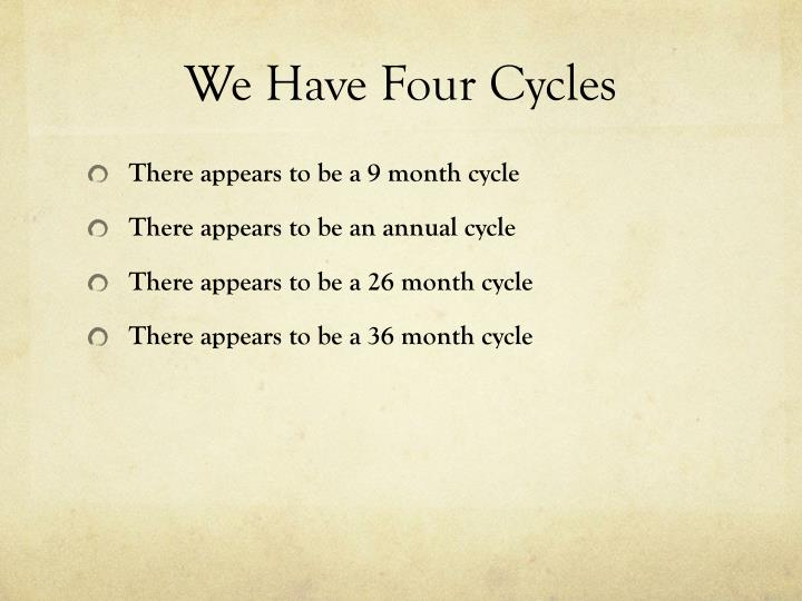 We Have Four Cycles