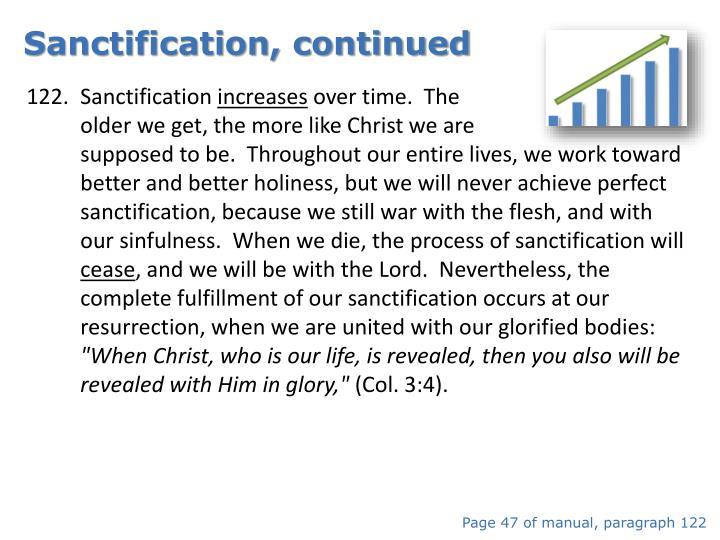 Sanctification, continued