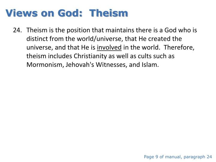 Views on God:  Theism
