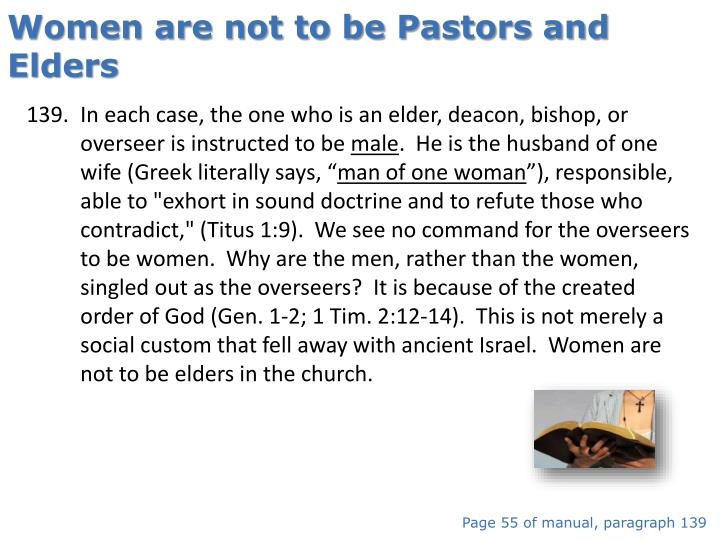 Women are not to be Pastors and