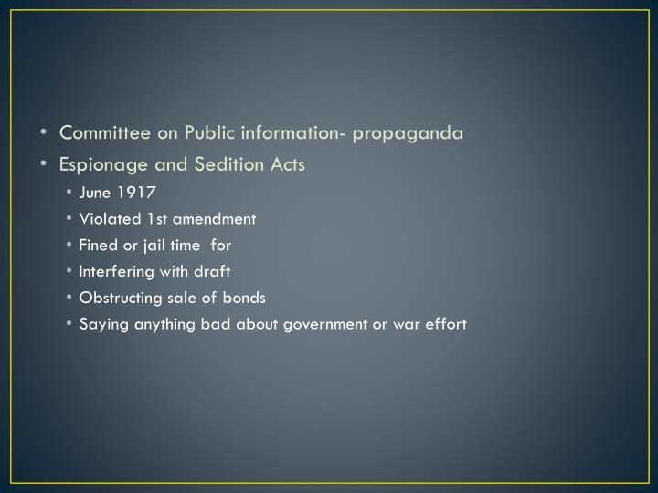 Committee on Public information- propaganda