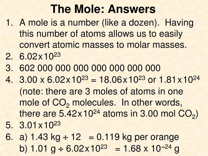 The Mole: Answers