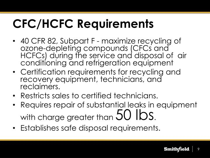 CFC/HCFC Requirements