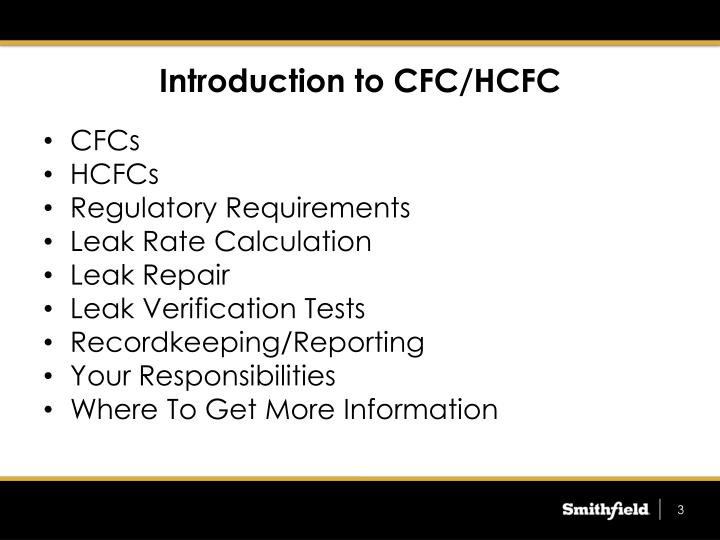 Introduction to cfc hcfc