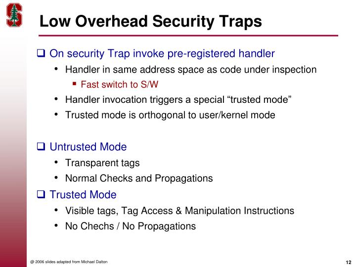 Low Overhead Security Traps