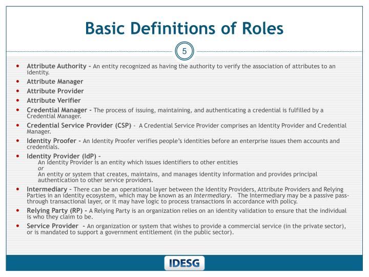 Basic Definitions of Roles