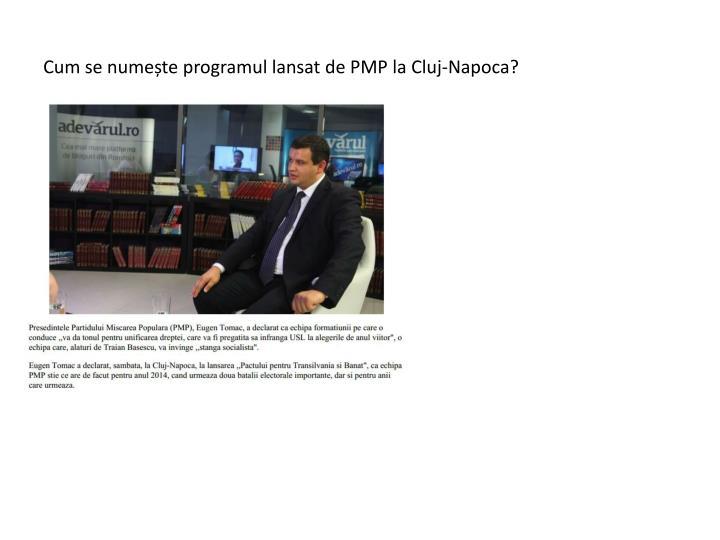 Cum se nume te programul lansat de pmp la cluj napoca