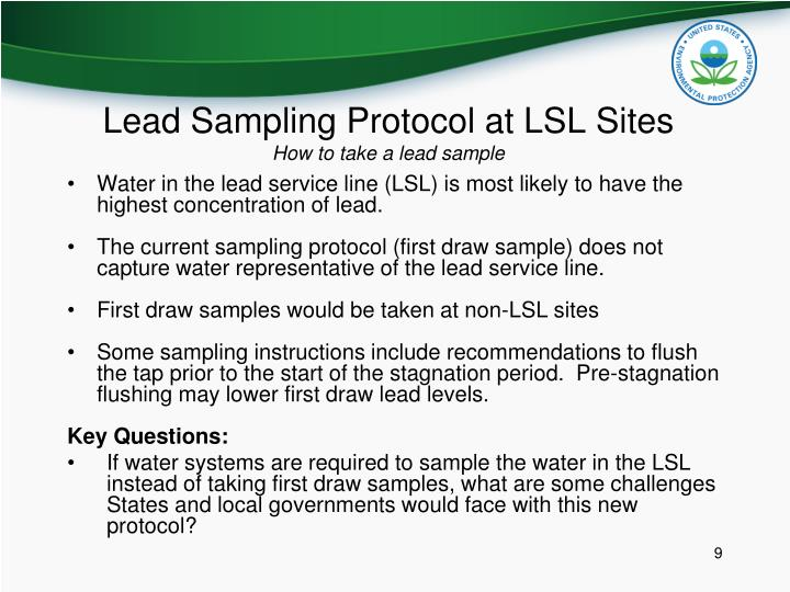 Lead Sampling Protocol at LSL Sites