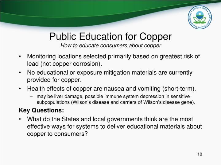 Public Education for Copper