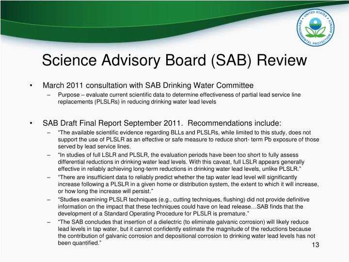 Science Advisory Board (SAB) Review
