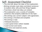 self assessment checklist