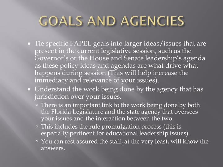 GOALS AND AGENCIES