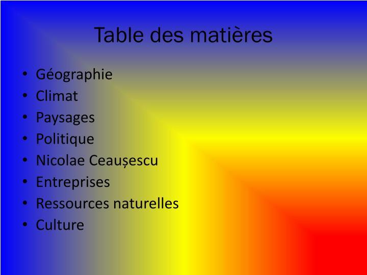 Table des mati res