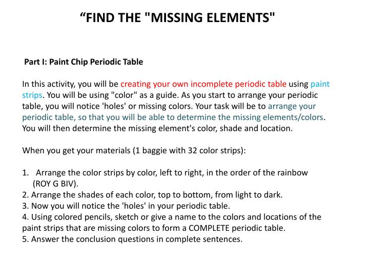 """""""FIND THE """"MISSING ELEMENTS"""""""