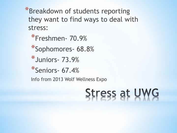 Breakdown of students reporting they want to find ways to deal with stress:
