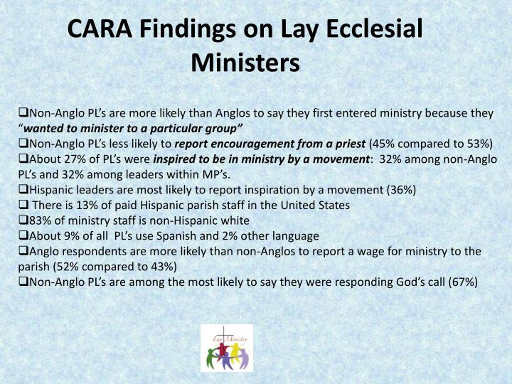 CARA Findings on Lay Ecclesial Ministers