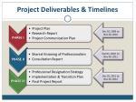 project deliverables timelines
