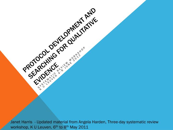 protocol development and searching for qualitative evidence n.
