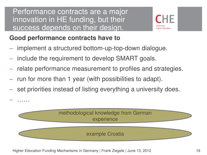 Performance contracts are a major innovation in HE funding, but their success depends on their design.